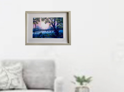 Framed Print of Bluebell Woods and Tree Spirits