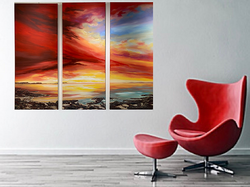 Sold/Red Sunset as a Triptych