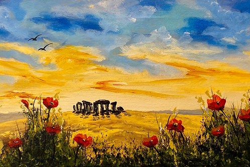 Print of Red Poppies at Stone Henge. 29x11cm