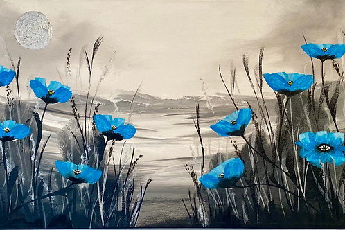 Sold/Blue Poppies on a Panoramic Canvas. 80x30 cm