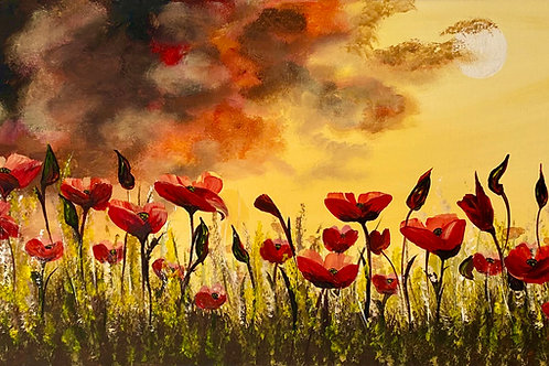 Red Poppies by a Full Moon. 80x30 cm