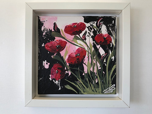 Red Poppies and Green Leaves. 8'x8' canvas