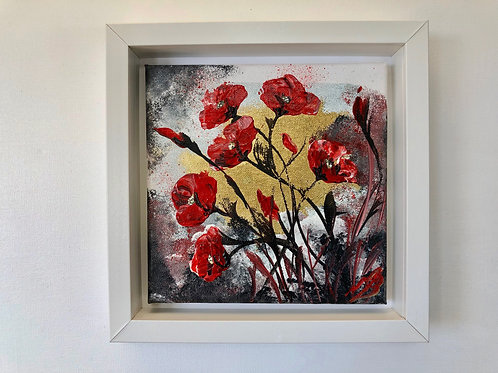 Abstract Poppies on Gold Leaf in a Frame