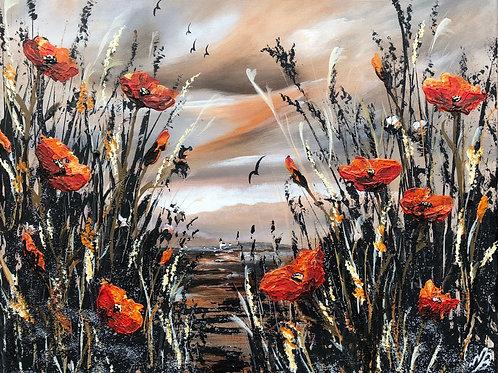 Print from Orange Poppies against an Orange Sky