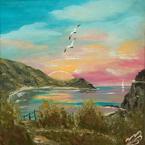 Sold/Lulworth Cove with Pink Sunrise. 8'x8' Canvas