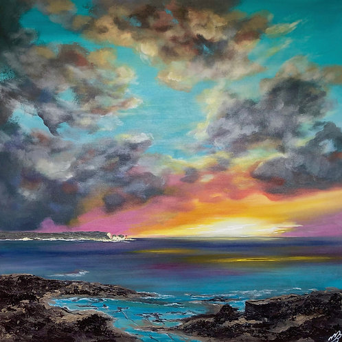 Sunrise over the Isle of Wight on a large canvas
