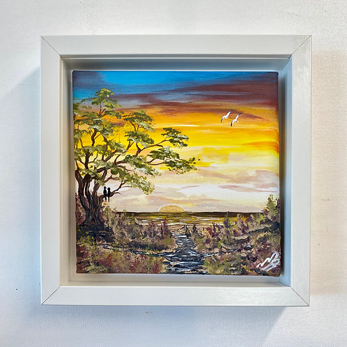 Sold/Golden Sunset in Box Frame. 8'x8' Canvas