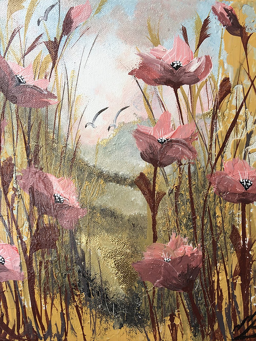 Sold/Pink Poppies on Gold Leaf