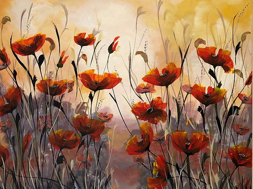 Print from Red Poppies on a large canvas