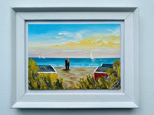 Beach Huts in a Frame. 7'x5' canvas