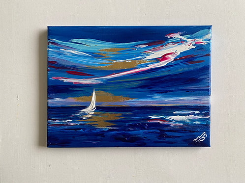 Print of Abstract Seascape on Gold Leaf