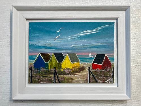 Colourful Beach Huts 19x14 cm