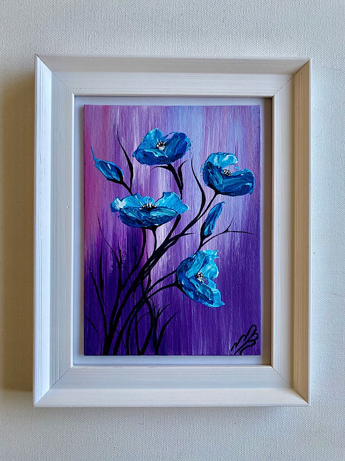 Sold/Five Abstract Purple Poppies in a Frame