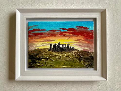 "Solstice Sunrise over Stone Henge. 5""x7"" Canvas"