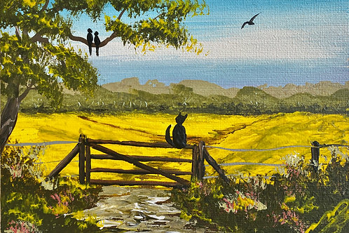 Cat on the Gate. 7'x5' Canvas Board