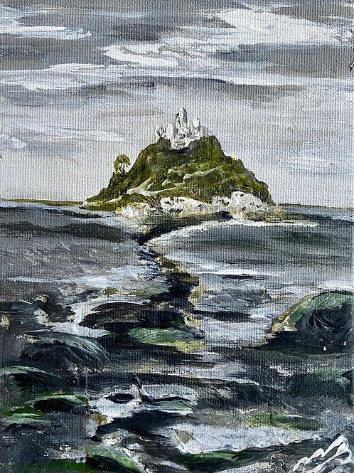 Print of St Michaels Mount under aGrey sky
