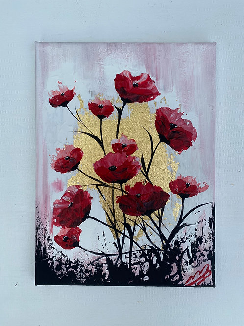 Red Poppies on Gold Leaf against a Pink Sky. 9'x12'
