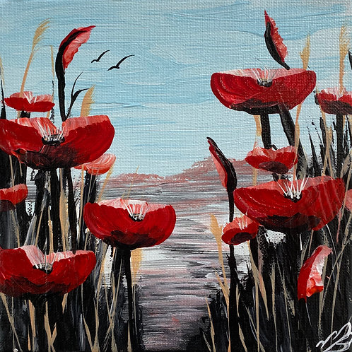 Sold/Abstract Red Poppies against a Blue Sky. 8'x8'