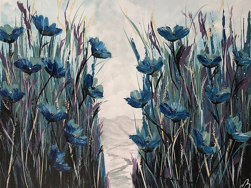 Blue Poppies in a field