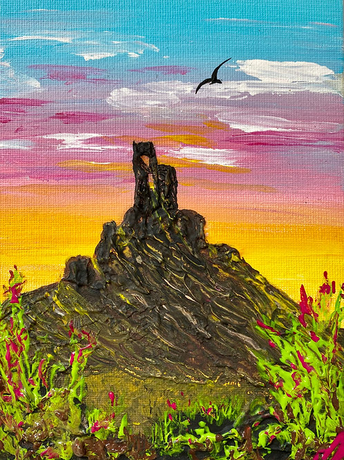 "Sold/Red Sunset over Corfe Castle. Canvas 5""x7"""