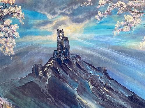 Print of Corfe Castle in Bloom