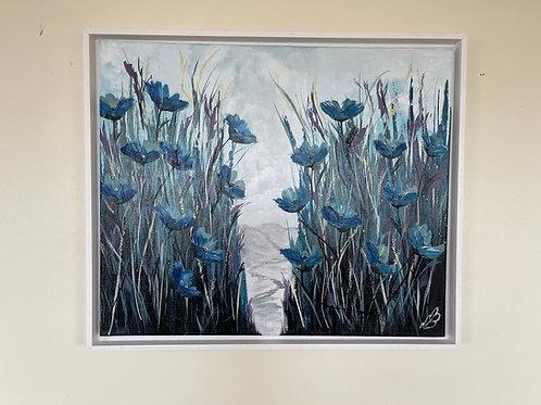 Blue Poppies in a field; 60x50cm
