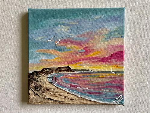 Colourful Sunrise over Hengistbury Head 20x20cm
