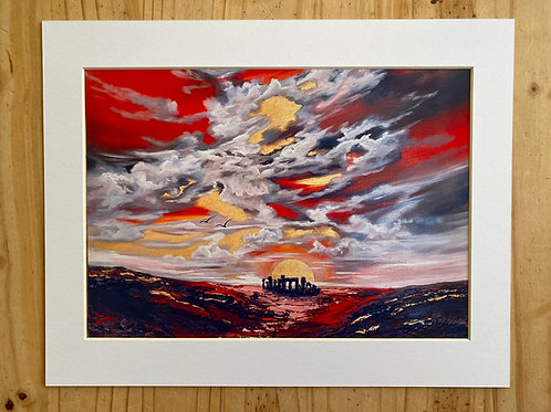 Print from Solstice sunrise over Stonehenge