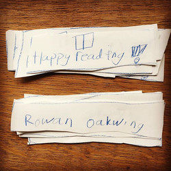 And these were the beautiful bookmarks my daughter made to give away at the #RowanOakwing book launc