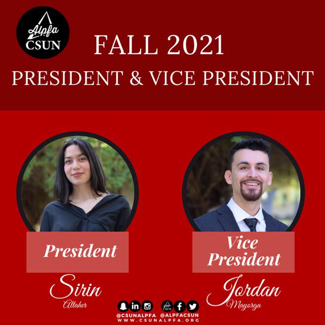 CSUN ALPFA Fall 2021 President and Vice President