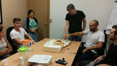 Celebrating the birthday of one of our community members.