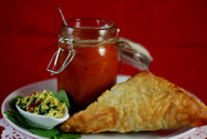 Spinach and tofu pastry with spiced tomato chutney
