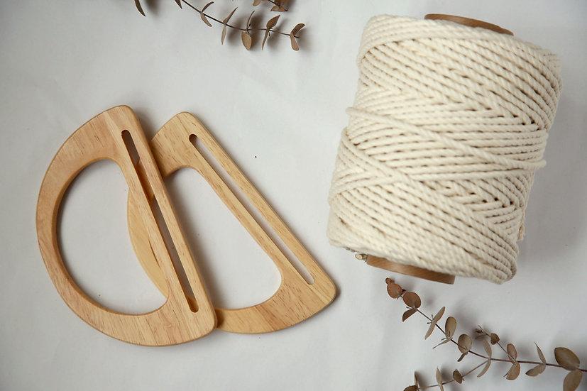 ערכה ליצירת תיק ממקרמה ידיות עץ