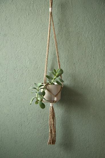 מתלה עציץ מנימליסטי עשוי מחבל יוטה