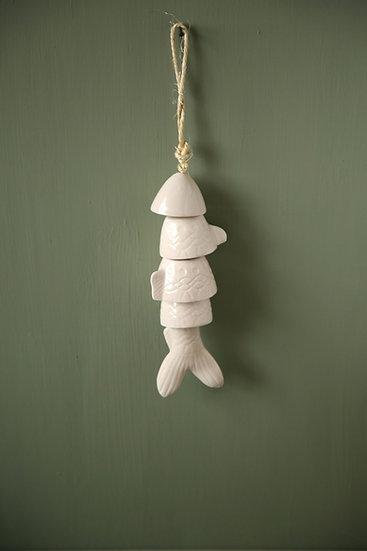 מתלה דג מקרמיקה בצבע לבן