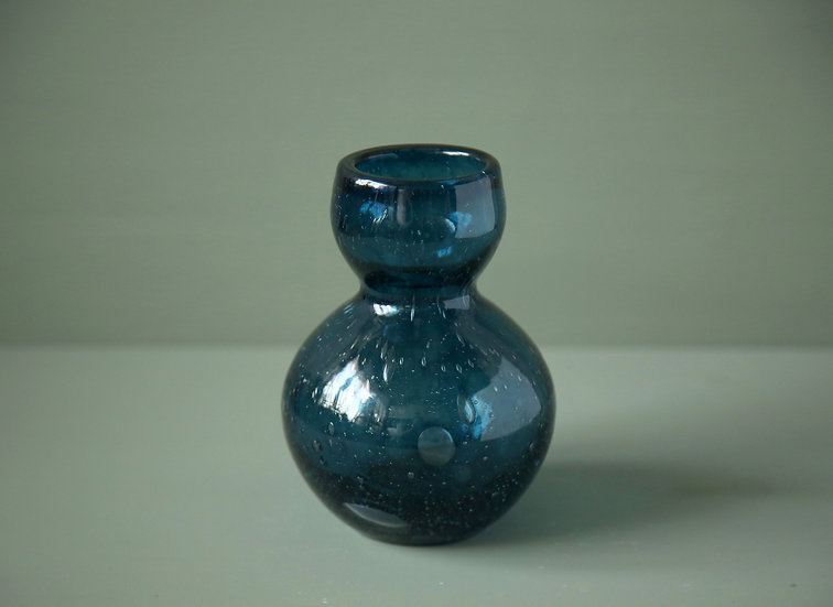 ואזה זכוכית כחולה ניפוח בעבודת יד לגידול אבוקדו, יקינטון או לפרחים