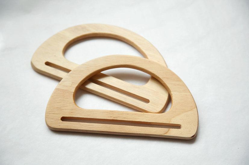 זוג ידיות עץ מלא ליצירת תיק ממקרמה או למתלי קיר קטנים