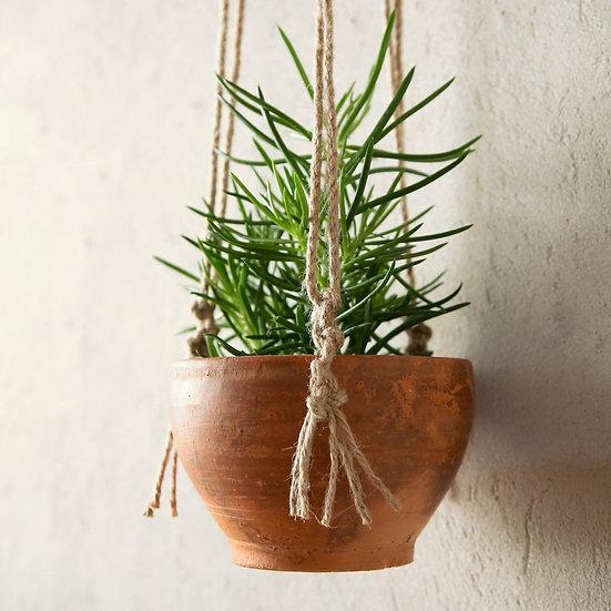 מתלה עציץ מחבל יוטה כולל עציץ טרקוטה קטן