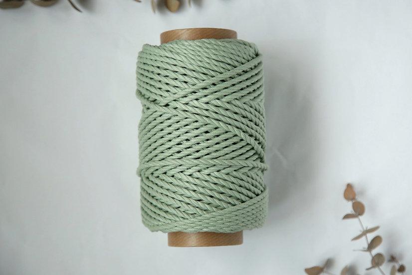 """חבל מקרמה בצבע ירוק בהיר 4 מ""""מ שזור 50מטר"""
