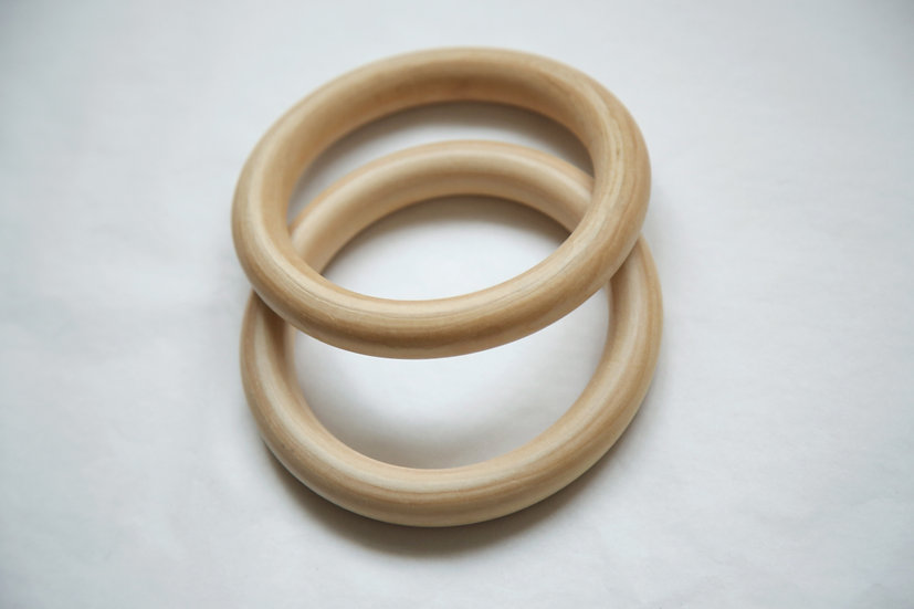 """זוג טבעות עץ מלא ליצירת מתלה קיר או מתלה עציץ קוטר 10 ס""""מ"""