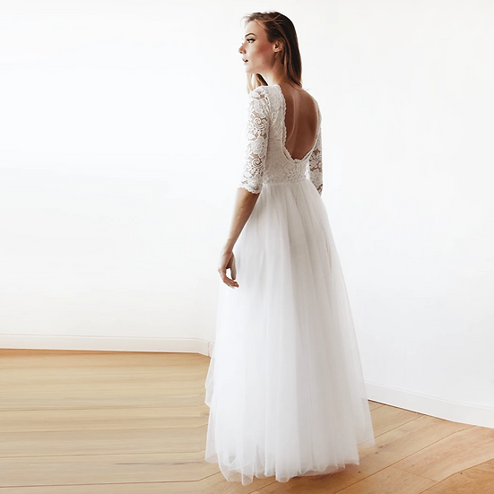 Ivory Tulle and Lace Open Back Gown 1122