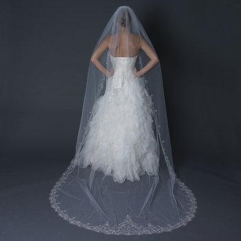 Single Layer Cathedral Length Scalloped Edge Veil with Swirly Embroidery V 1568