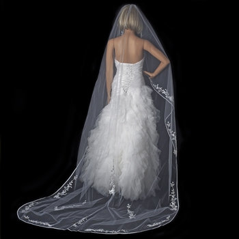Single Layer Floral Embroidery Cathedral Length White Veil Satin Ribbon Edge