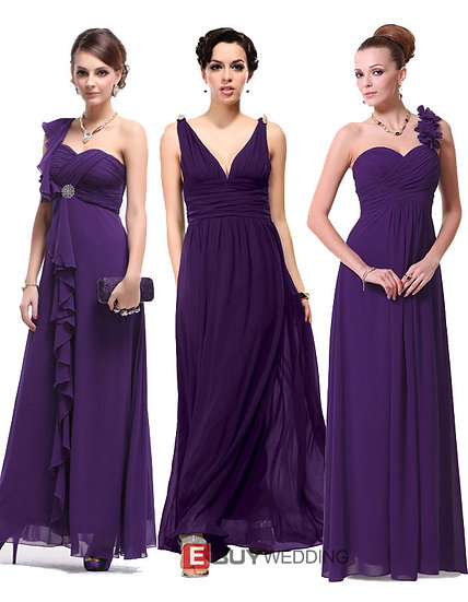 Custom Sheath Floor Length Chiffon Bridesmaid Dresses