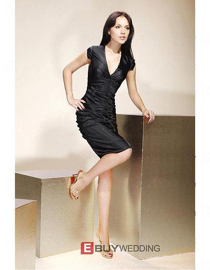 Sheath/ Column V-Neck Knee-Length Capped Elastic Woven Satin Cocktail Dresses