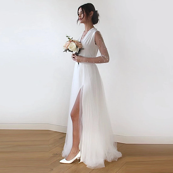Ivory wrap tulle gown with long chiffon sleeves 1175