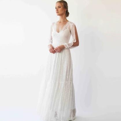 Bishop With Slit Sleeves, lace Bohemian Wedding Dress, Ivory Vintage Style 1260