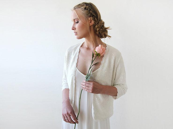 Sequin Ivory Jacket, Elegant Bridal Blazer, Sequin Top 2053