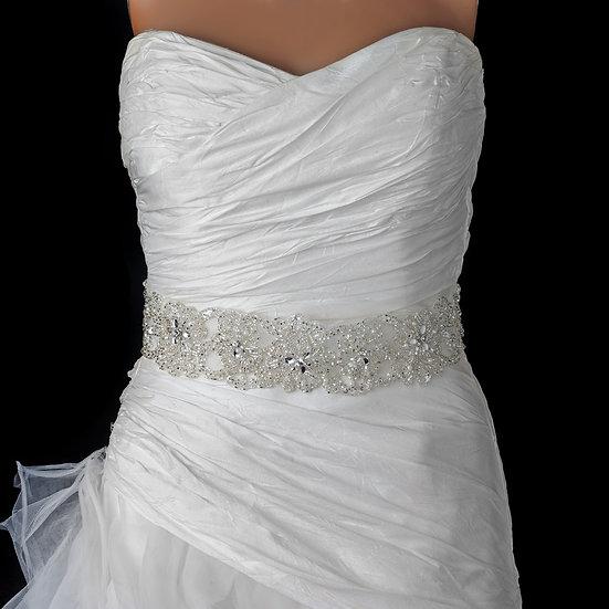 Sheer Diamond White Organza Rhinestone & Pearl Accent Beaded Bridal Belt 280