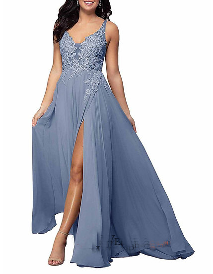 V-Neck Long Chiffon Applique Bridesmaid Dress with Slit